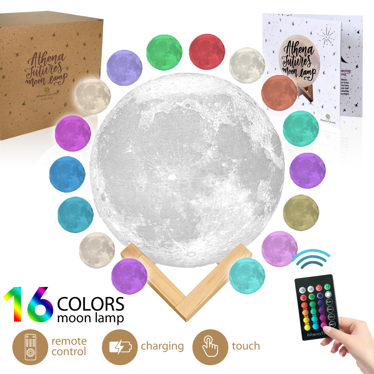 Moon Lamp 3d Printed 5.9 in, 16 Colors - Athena Futures Inc.