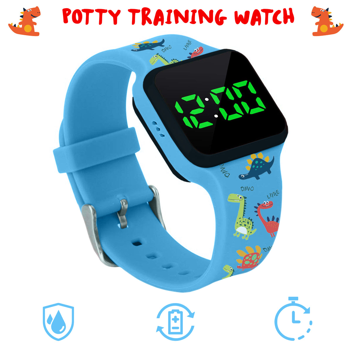 Potty Training Timer Watch with Flashing Lights and Music Tones - Water Resistant, Rechargeable, Dinosaur Pattern Colorful Band - Athena