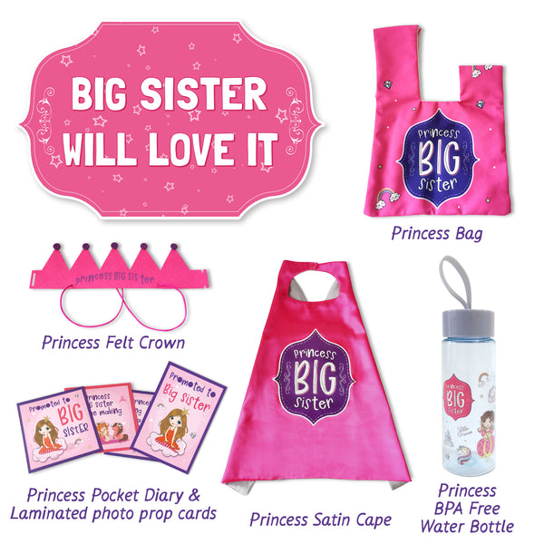 Big Sister Gift Set For Toddler Girls - 6-Pieces Princess Set for Older Sibling - Athena Futures Inc.