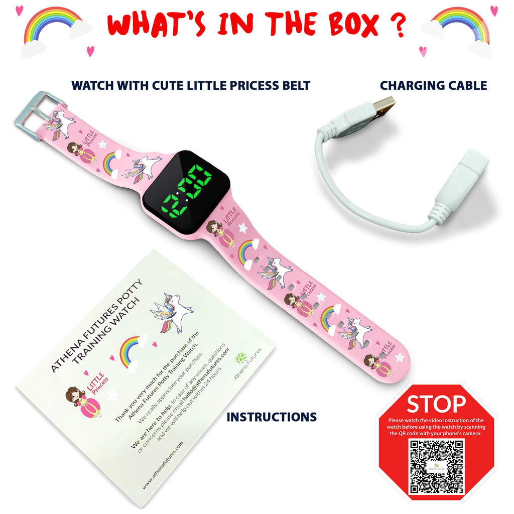 Potty Training Count Down Timer Watch with Lights and Music - Rechargeable, Princess Pink Band Engaging Pattern, Water Resistant, Potty Training Watch Pink - Athena Futures Inc.
