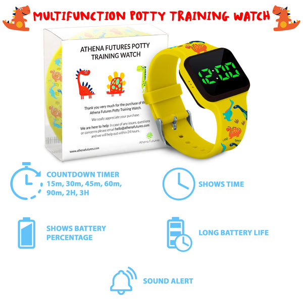 Potty Training Timer Watch Yellow Dinosaur with Flashing Lights and Music Tones - Athena Futures Inc.