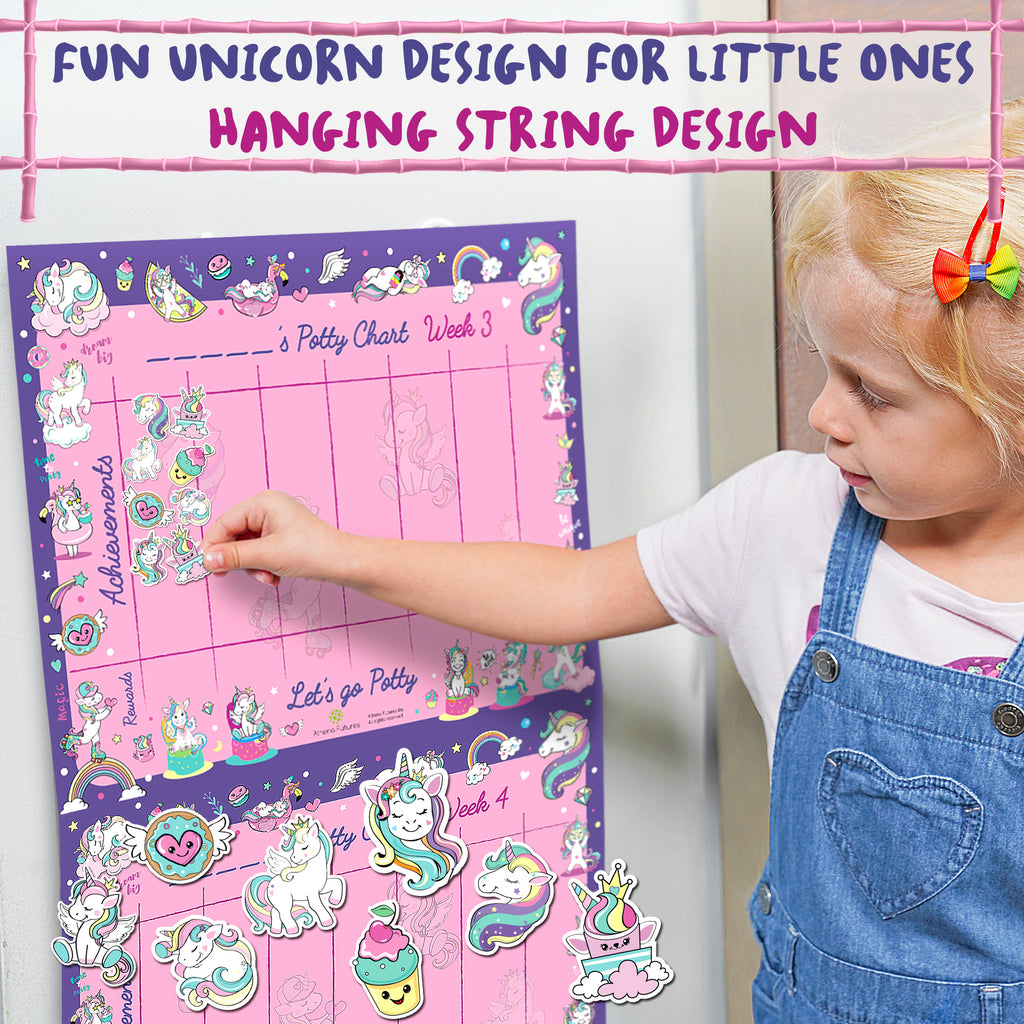 Potty Training Chart For Toddlers – Unicorn Design - Reward Your Child – Sticker Chart, 4 Week Chart - Athena Futures Inc.