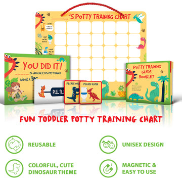 Potty Training Chart for Toddlers Magnetic Reuseable – Dinosaur Design Waterproof - Chart, 35 Magnetic Stickers, Certificate, Instruction Booklet, Crowns and More – for Boys and Girls - Athena Futures Inc.