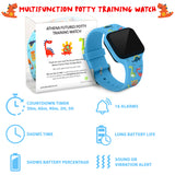 Potty Training Timer Watch with Flashing Lights and Music Tones - Water Resistant, Rechargeable, Dinosaur Pattern Colorful Band - Athena Futures Inc.