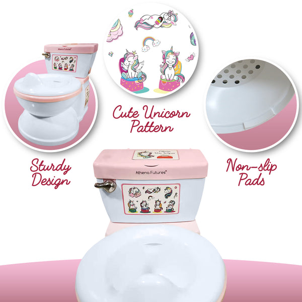 Potty Toilet Training Seat - Unicorn Design-Realistic Urinal with Flush Sounds, Paper Roll Holder, Wipes Storage Dispenser, Removable Washable Bowl - Bathroom Accessories for Teaching Toddlers & Kids - Athena Futures Inc.
