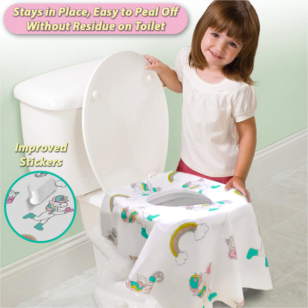 Disposable Toilet Seat Covers for Toddlers - Individually Wrapped Unicorn Potty Training Liners for Kids - Athena Futures Inc.