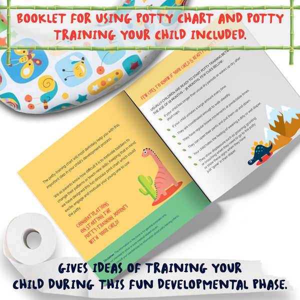 Potty Training Chart For Toddlers With Dinosaur Design and Kids Cartoon - Athena Futures Inc.