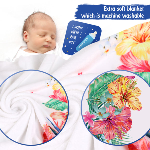 Baby Monthly Milestone Blanket Girl Floral – Soft Fluffy Design – 60 x 40 in - Athena Futures Inc.