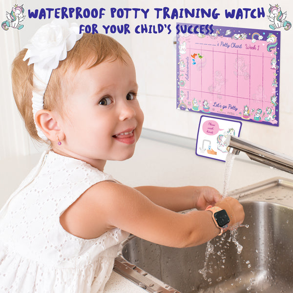 Potty Training Timer Watch with Flashing Lights and Music Tones - Water Resistant, Rechargeable, Unicorn Pattern Pink Band - Athena Futures Inc.
