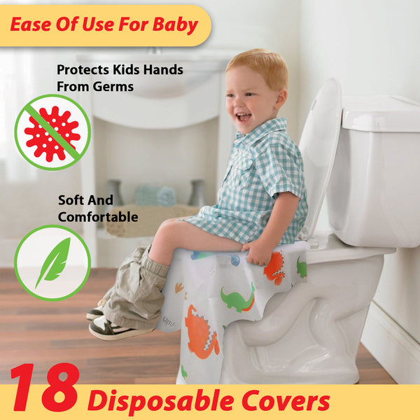 Disposable Toilet Seat Covers for Toddlers - Individually Wrapped Dinosaur Potty Training Liners for Kids - Portable with Non-Slip Adhesives - Extra Large Size - Road Trip Essentials - Athena Futures Inc.
