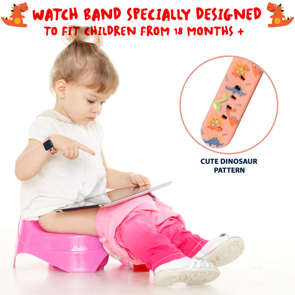 Potty Training Timer Watch with Flashing Lights and Music Tones - Water Resistant, Rechargeable, Dinosaur Pattern Pink Band - Athena Futures Inc.