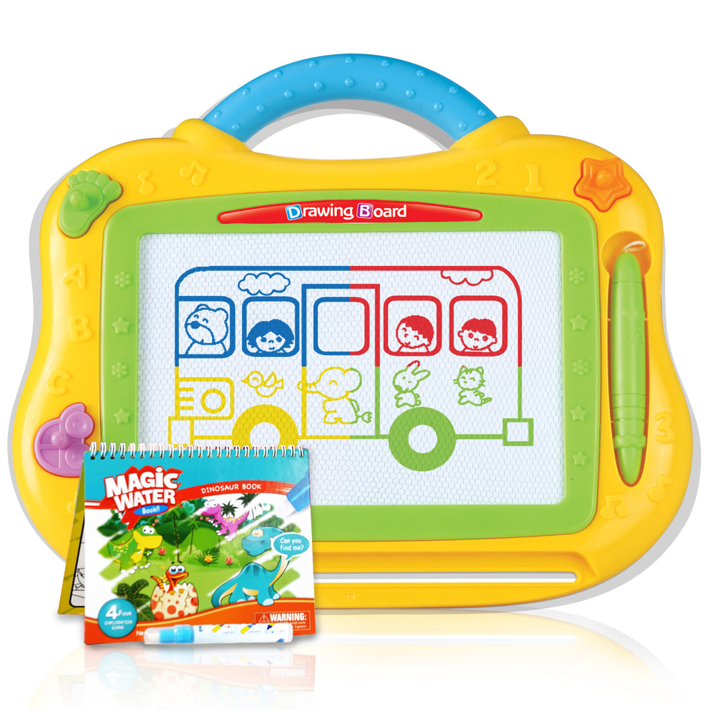Kids Magnetic Drawing Board – Full Color + BONUS Magic Water Dinosaur Book - Athena Futures Inc.