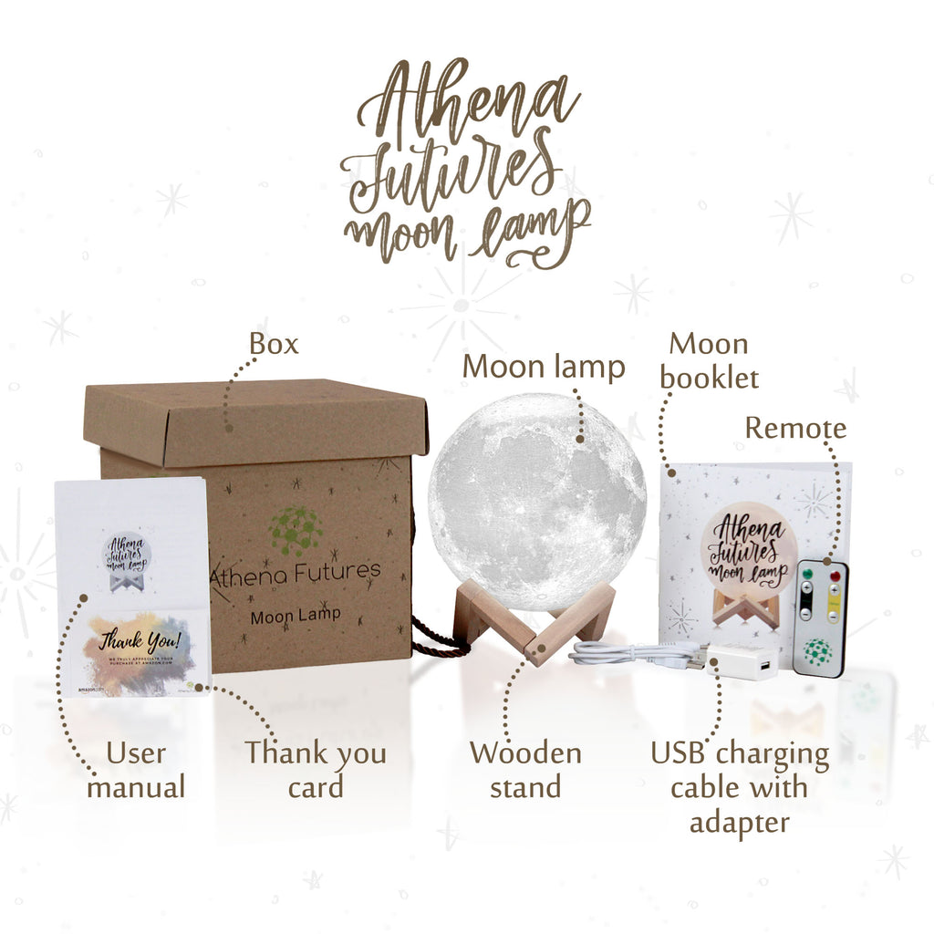 Athena Futures Inc. Mood Lamp Book USA Seller 7.1 inch 16 Color Cool Lamp Moon Lamp Moon Light 3D Moon Lamp - USB Charging 16 Color Moon Night Light with Stand Globe Upgrade
