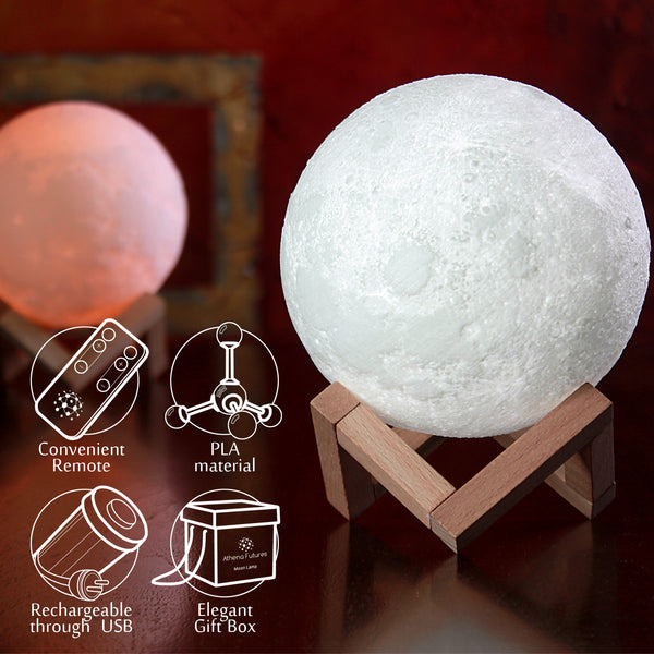 Moon Lamp 3d Printed 5.9 in, 3 Colors - Athena Futures Inc.