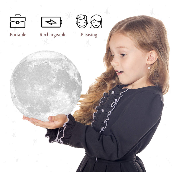 Moon Lamp 3d Printed 7.1 in, 16 Colors - Athena Futures Inc.