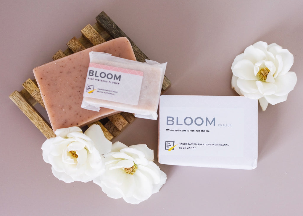 Natural Soap with exfoliating organic and fair trade hibiscus