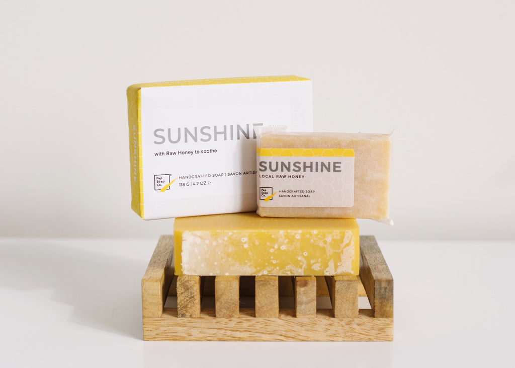 Honey Soap SUNSHINE to with raw honey from BC's Fraser Valley to brighten your day