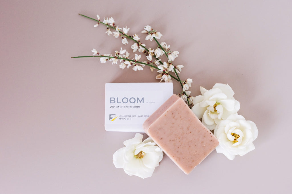 Pamper your skin with minimalist natural soap with essential oils BLOOM with organic hibiscus