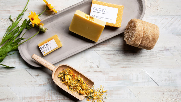 GLOW - a gentle unscented soap for dry sensitive skin with sea buckthorn oil, calendula-infused olive oil, and pumpkin puree