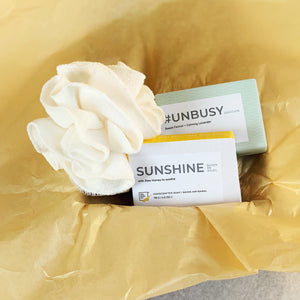 SUNSHINE, UNBUSY, and Organic Bamboo Bath Pouf Gift Set by Pep Soap Co.