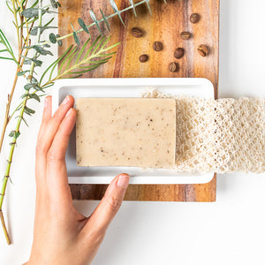 Coffee soap and scrub in one to gently exfoliate