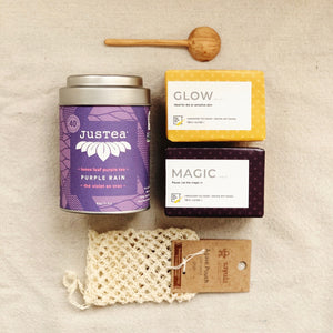 Gift box with Purple Rain by JusTea, Handmade Soap with essential oils and natural reusable compostable Agave Soap Saver