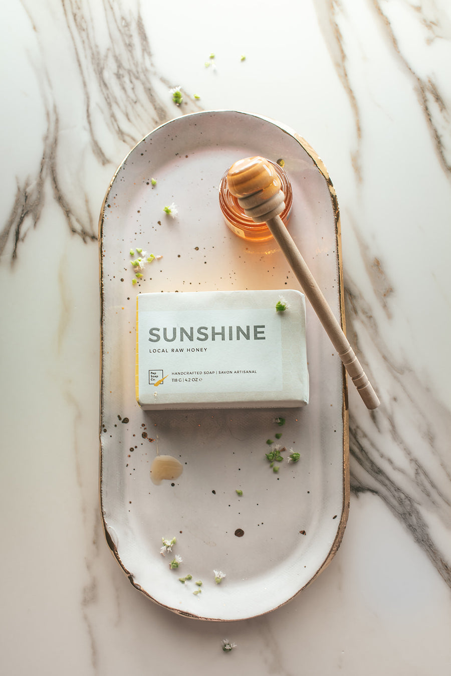 Honey Soap SUNSHINE by Pep Soap Co. with locally sourced raw honey from BC's Fraser Valley