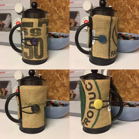 burlap, coffee, coffee bag, french press, bodum, coffee cozie, french press cover, french press cozie