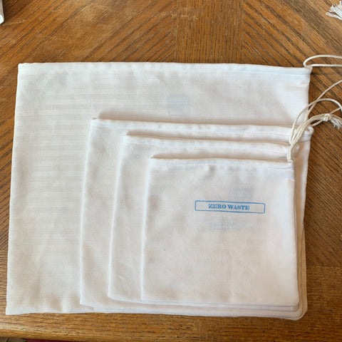 set of 4 cotton produce bags, 100% cotton, compostable, zero waste