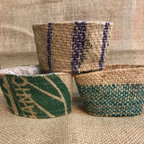 burlap, coffee sleeve, sustainable, upcycle, reuse, no plastic, no landfill, zero waste