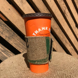 coffee sleeve, coffee, ecofriendly, sustainable, burlap sleeve, no plastic, no landfill, zero waste