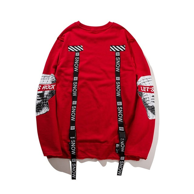 GONTHWID Back Ribbon Sweatshirt