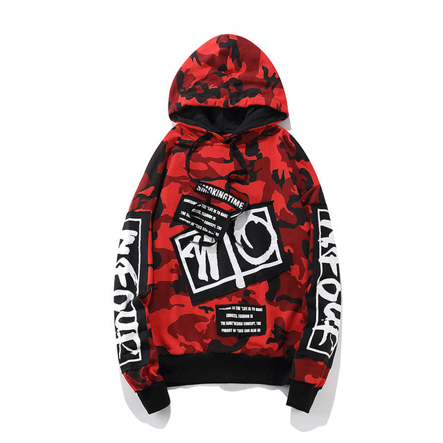 GONTHWID Camouflage Patch Hoodie