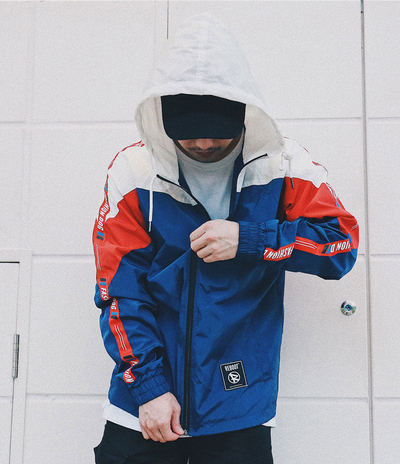 GONTHWID Color Block Hooded Tracksuit Jacket