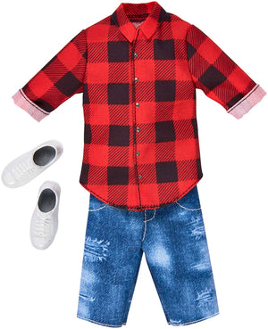 Mattel® Barbie® Ken® Red Plaid Shirt & Demin Shorts Fashion Pack