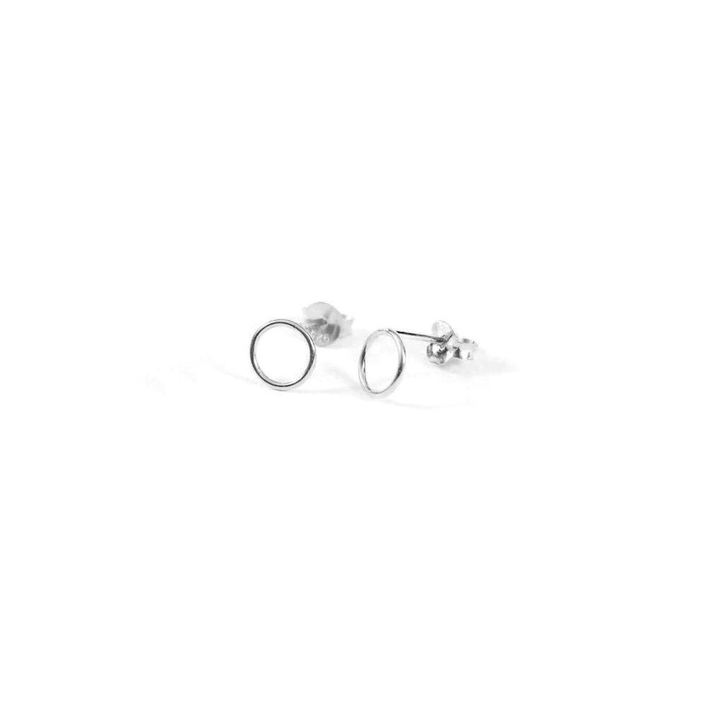 Venus Sterling Silver Circle Stud Earrings