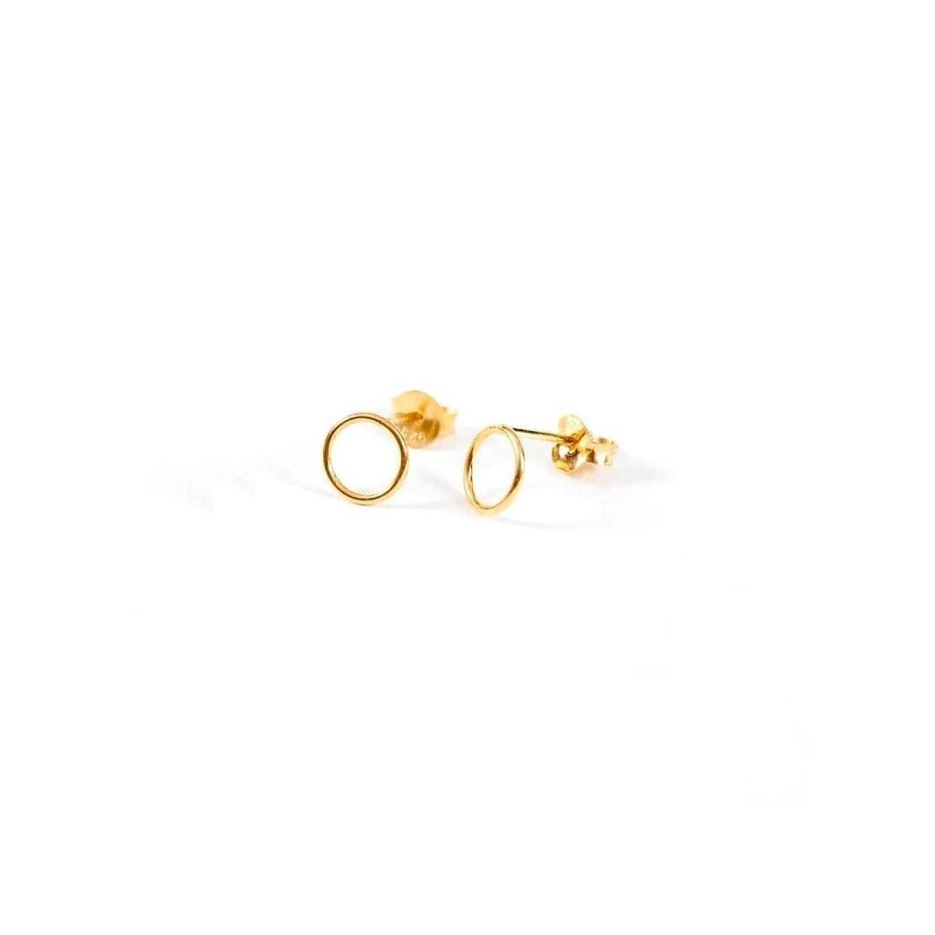 Venus Gold Circle Stud Earrings