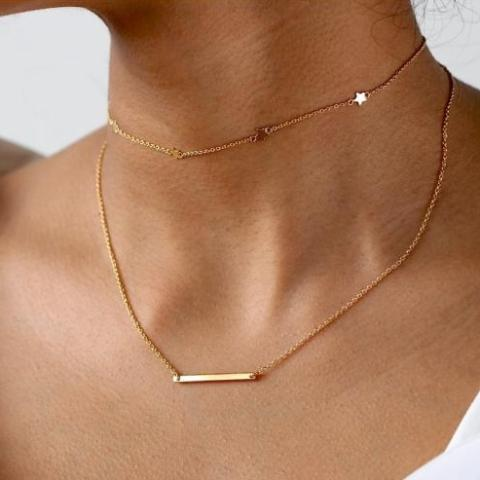 Marie Gold Minimal Bar Necklace