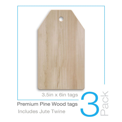 Premium Pine Mini Wood Tags (3pk)