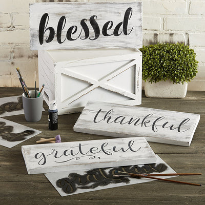 Grateful, Thankful, Blessed Stencil Set