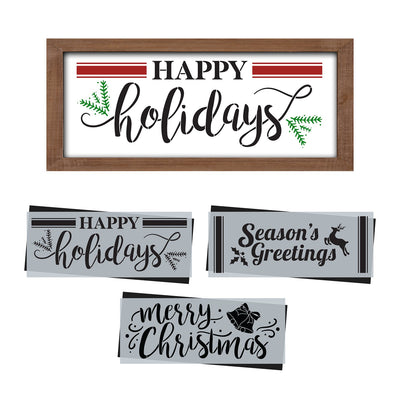 DIY reusable farmhouse Christmas template, reusable farmhouse Christmas sign stencil, Christmas stencils, diy Christmas home decor, Happy Holidays sign stencil, Season's Greetings sign stencil, Merry Christmas sign stencil