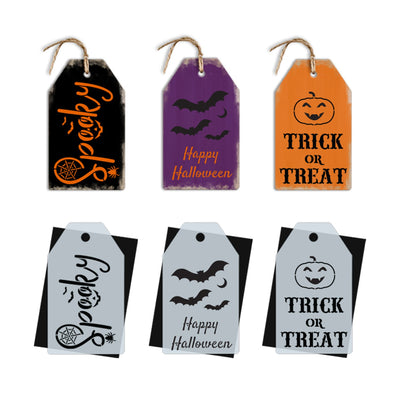 DIY reusable mini Halloween sign stencils, spooky stencil, happy halloween with bats stencil, trick or treat jack o lantern stencil, mini tag halloween sign stencils, halloween diy tiered tray signs