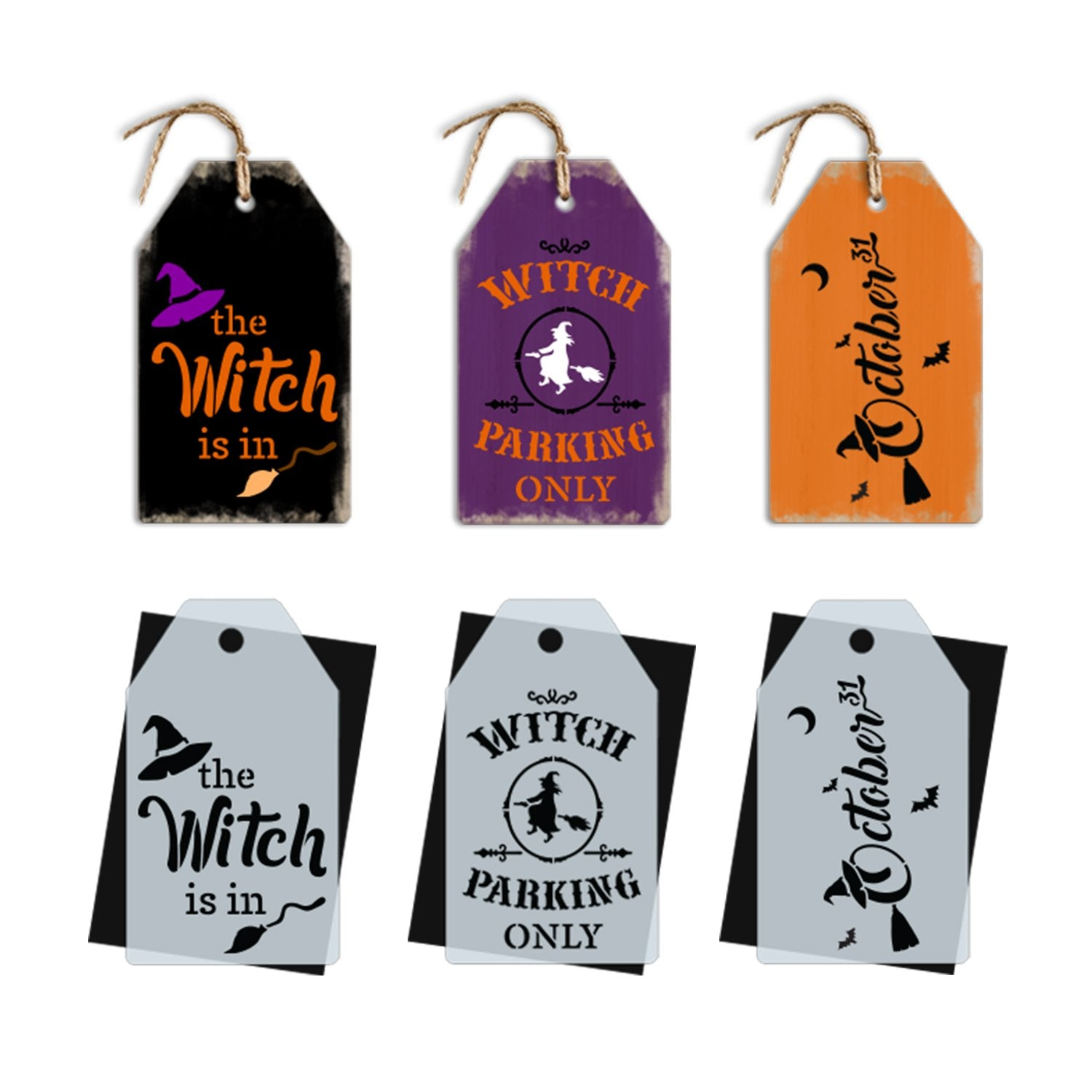 DIY reusable halloween mini stencils, Mini tag witch stencil signs, halloween tier tray decor, The witch is in mini sign stencil, witch parking only mini tag stencil, October 31st witch halloween mini tag sign stencil