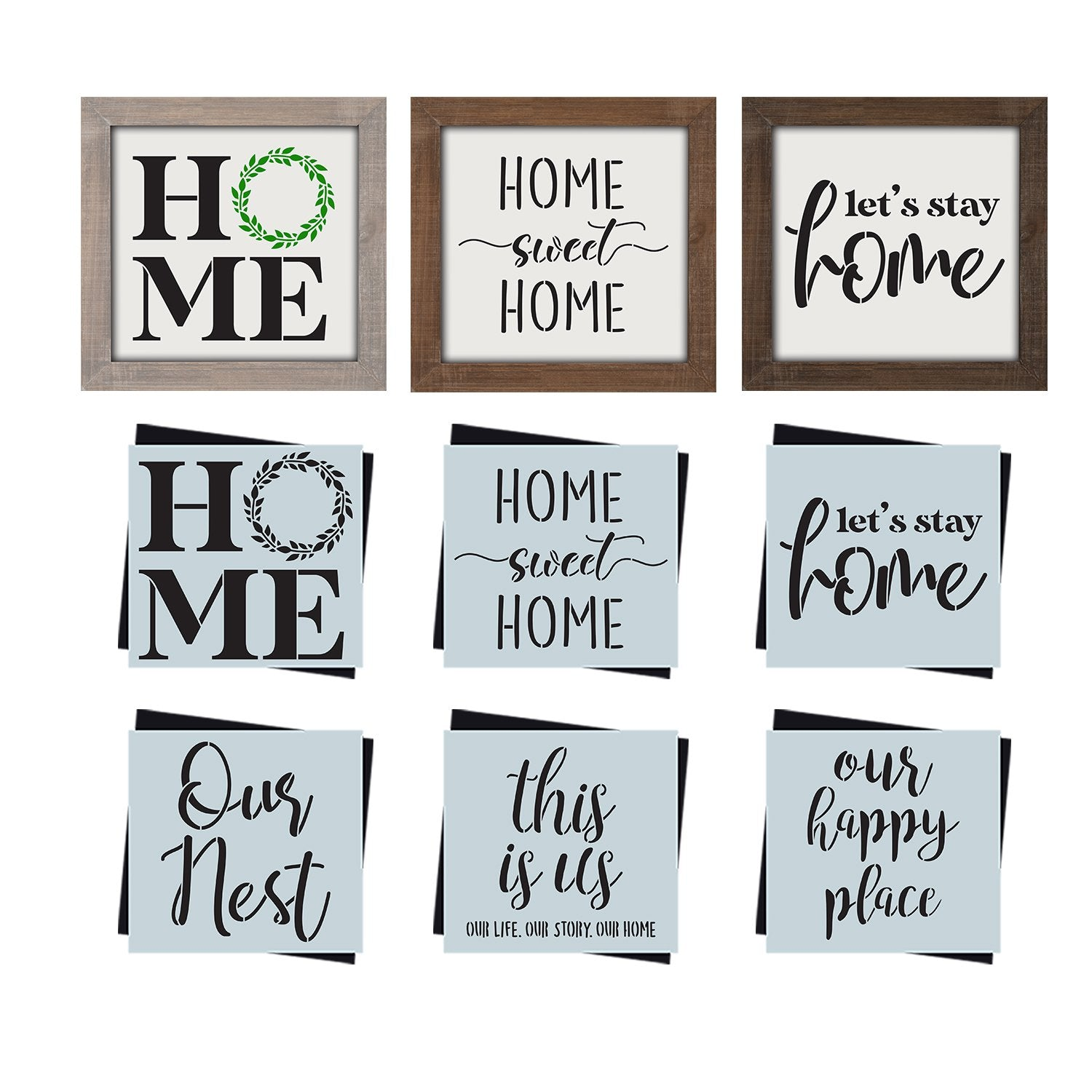 DIY reusable farmhouse home decor stencil,HOME mini sign stencil, home sweet home mini sign stencil, let's stay home mini sign, Our Nest mini sign stencil, this is us our life. our story. our home mini sign stencil, our happy place mini sign stencil, stencil tiered tray signs, DIY home decor, modern farmhouse diy home decor, DIY small shelf sign