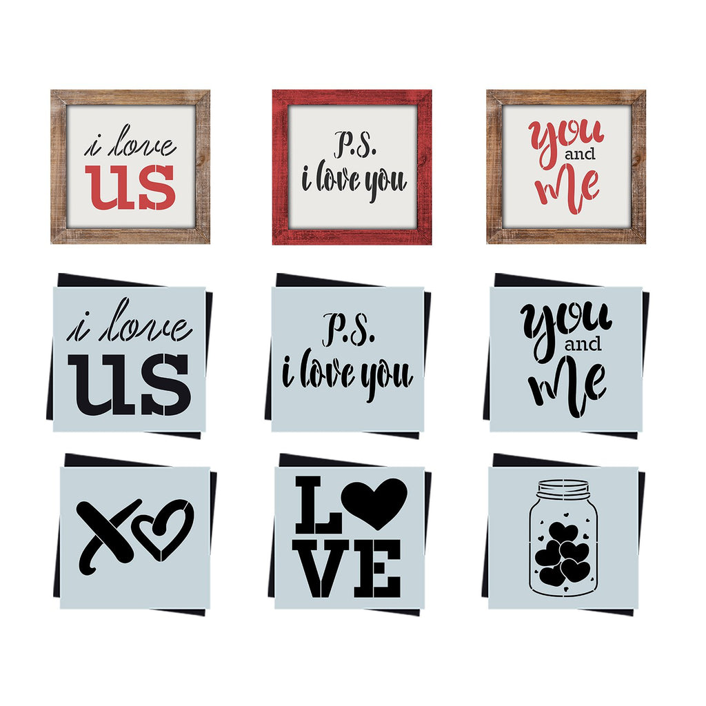 DIY reusable farmhouse sign valentines stencils, diy valentine's tiered tray home decor sign stencils, i love us sign stencil, p.s. i love you  sign stencil, you and me sign stencil, xo sign stencil, jar full of hearts sign stencils