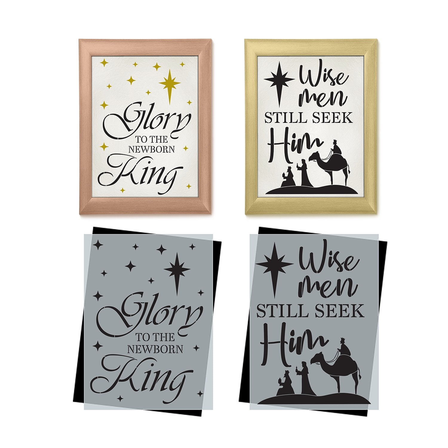 DIY reusable sign stencils, Nativity sign stencils, Glory to the newborn King sign stencil, Wise Men still seek him sign stencil, three wise men Christmas sign diy decor, Nativity template