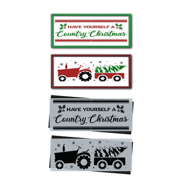 DIY reusable farmhouse Christmas stencils, Christmas template, Have yourself a Country Christmas sign stencil, Tractor pulling Christmas Tree sign stencil, on the farm Christmas sign stencil