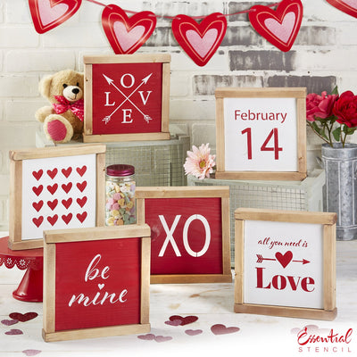 Reusable Valentine's Sign Stencils for painting wood signs | DIY Farmhouse Valentines Day Decor | February 14th stencil, Love arrow Stencil, XO stencil, all you need is love stencil, heart pattern stencil, be mine stencil