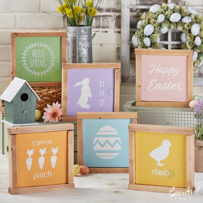 Reusable Spring and Easter Sign Stencils for painting wood signs | DIY Farmhouse Easter Decor | Hello Spring stencil, Carrot patch Stencil, easter egg stencil, Happy Easter stencil, Chick silhouette Cheep stencil, bunny hop silhouette stencil, bloom flowers stencil