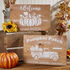 DIY Fall Farmhouse Decor, Reusable Fall Sign Stencils | Pumpkin Patch Vintage Truck, Welcome to our Patch Large reusable stencils